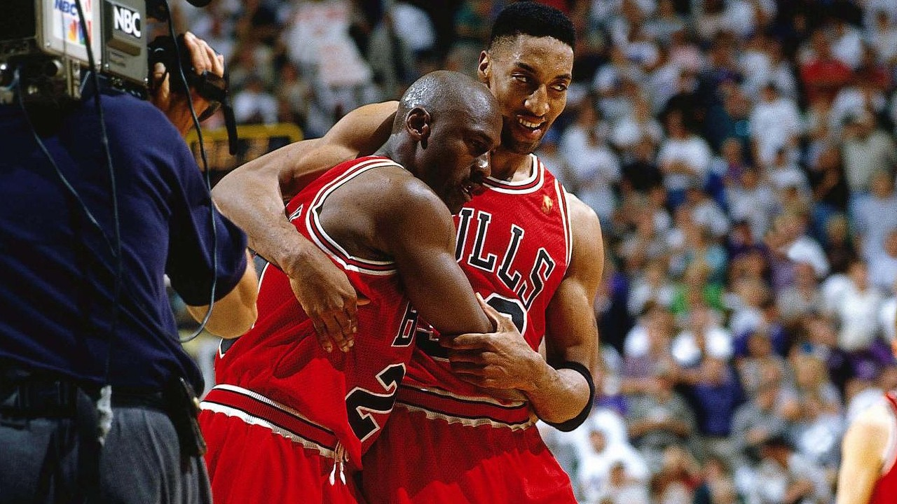 Michael Jordan and Scottie Pippen. Chicago Bulls Utah Jazz Flu Game NBA Finals 1997