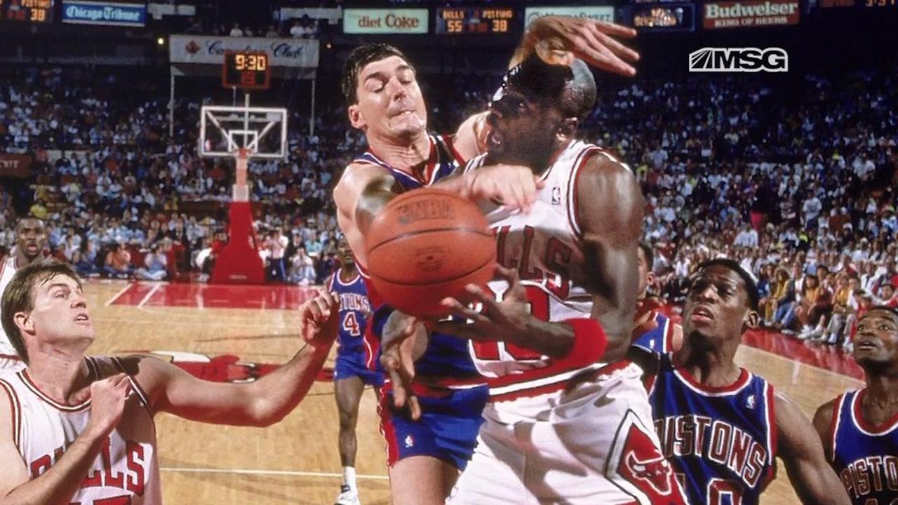 "The ""Jordan Rules"" - Were they effective? Bill Laimbeer and Michael Jordan driving fighting Jordan Rules MSG Bulls Pistons"